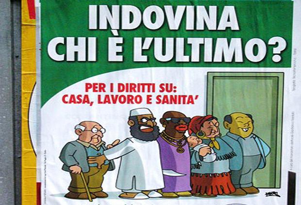 Particolare di un manifesto della Lega Nord per le strade di Torino